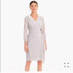 NWT velvet silver/grey J.Crew Wrap Dress